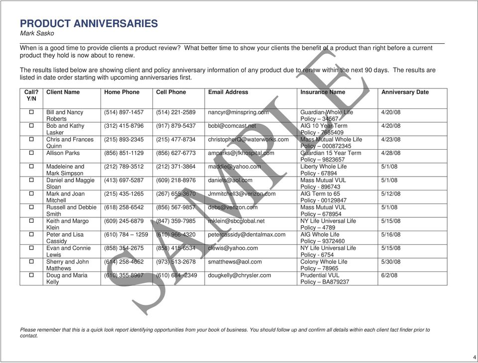 The results listed below are showing client and policy anniversary information of any product due to renew within the next 90 days.