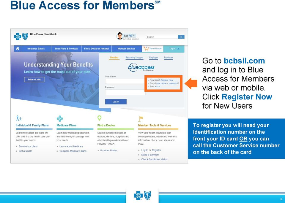 Click Register Now for New Users To register you will need your