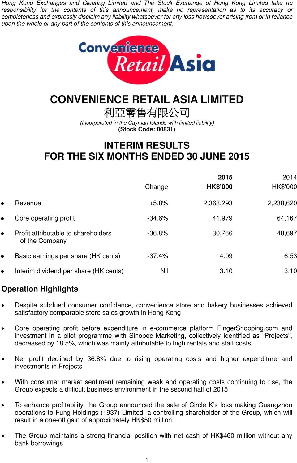CONVENIENCE RETAIL ASIA LIMITED 利 亞 零 售 有 限 公 司 (Incorporated in the Cayman Islands with limited liability) (Stock Code: 00831) INTERIM RESULTS FOR THE SIX MONTHS ENDED 30 JUNE 2015 Change HK$ 000