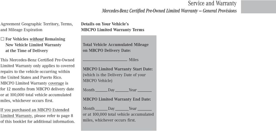 MBCPO Limited Warranty coverage is for 12 months from MBCPO delivery date or at 100,000 total vehicle accumulated miles, whichever occurs first.