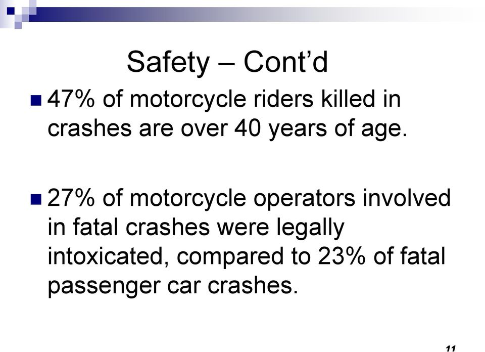 27% of motorcycle operators involved in fatal crashes
