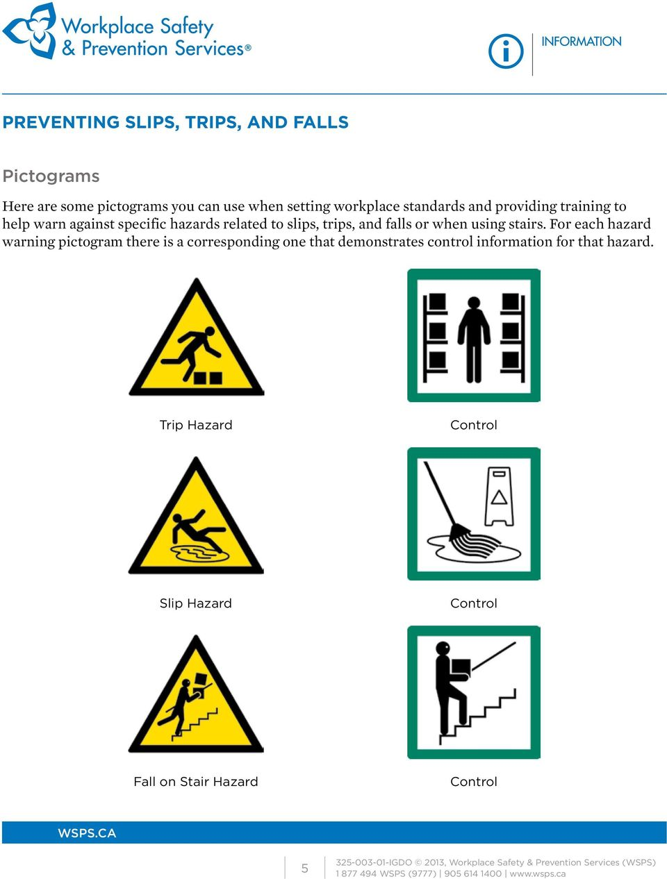 For each hazard warning pictogram there is a corresponding one that demonstrates control information for