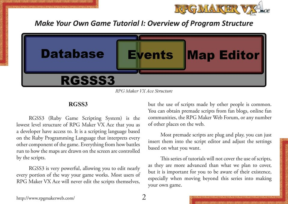 Everything from how battles run to how the maps are drawn on the screen are controlled by the scripts. RGSS3 is very powerful, allowing you to edit nearly every portion of the way your game works.