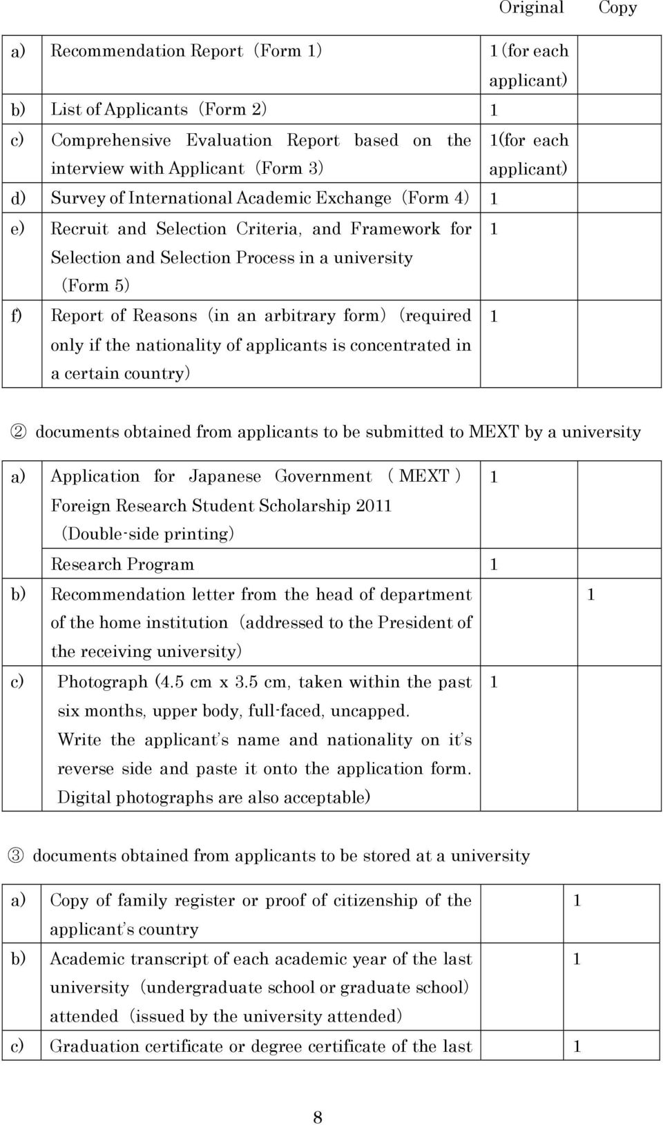 form)(required only if the nationality of applicants is concentrated in a certain country) 2 documents obtained from applicants to be submitted to MEXT by a university a) Application for Japanese