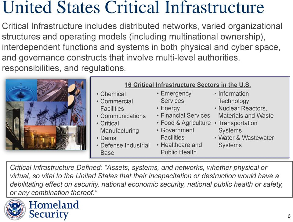 Chemical Commercial Facilities Communications Critical Manufacturing Dams Defense Industrial Base 16 Critical Infrastructure Se