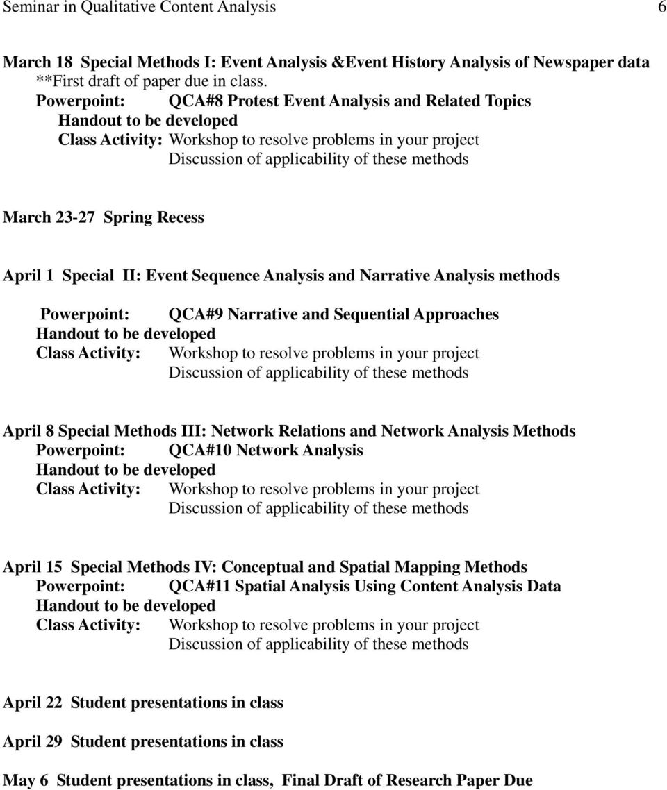 Sequential Approaches April 8 Special Methods III: Network Relations and Network Analysis Methods Powerpoint: QCA#10 Network Analysis April 15 Special Methods IV: Conceptual and Spatial Mapping