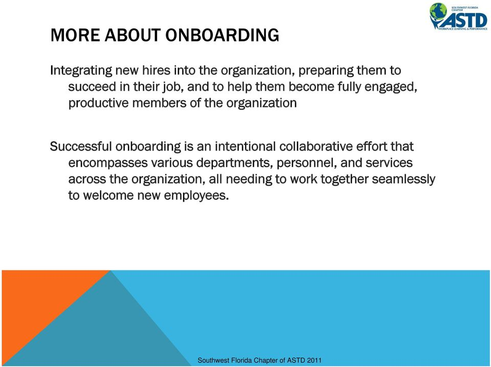onboarding is an intentional collaborative effort that encompasses various departments, personnel,
