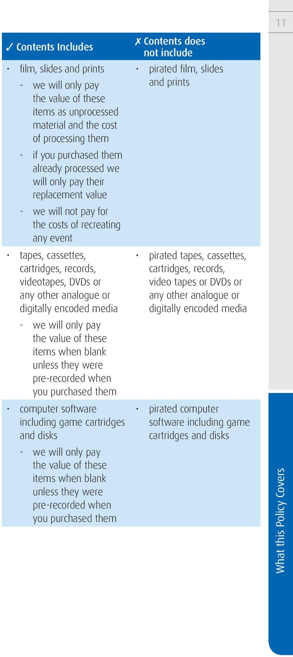 only pay the value of these items when blank unless they were pre-recorded when you purchased them computer software including game cartridges and disks - we will only pay the value of these items