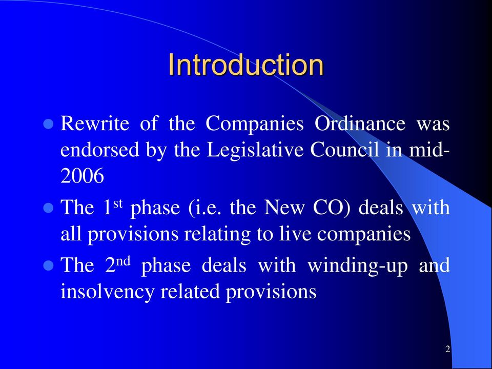 New CO) deals with all provisions relating to live companies The
