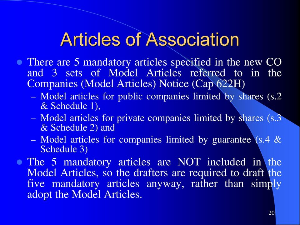 2 & Schedule 1), Model articles for private companies limited by shares (s.