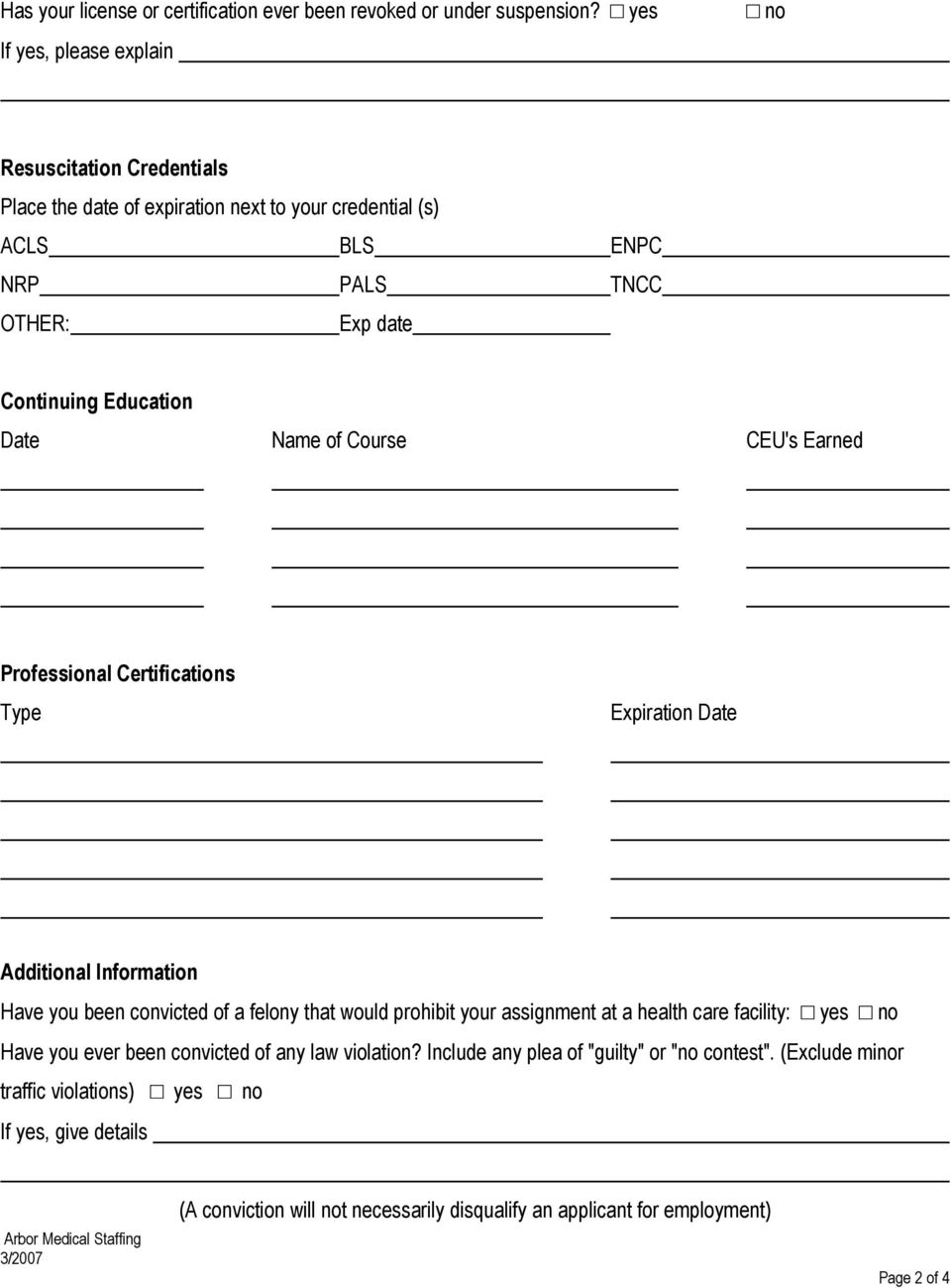 Arbor Medical Staffing Application  Education Name and