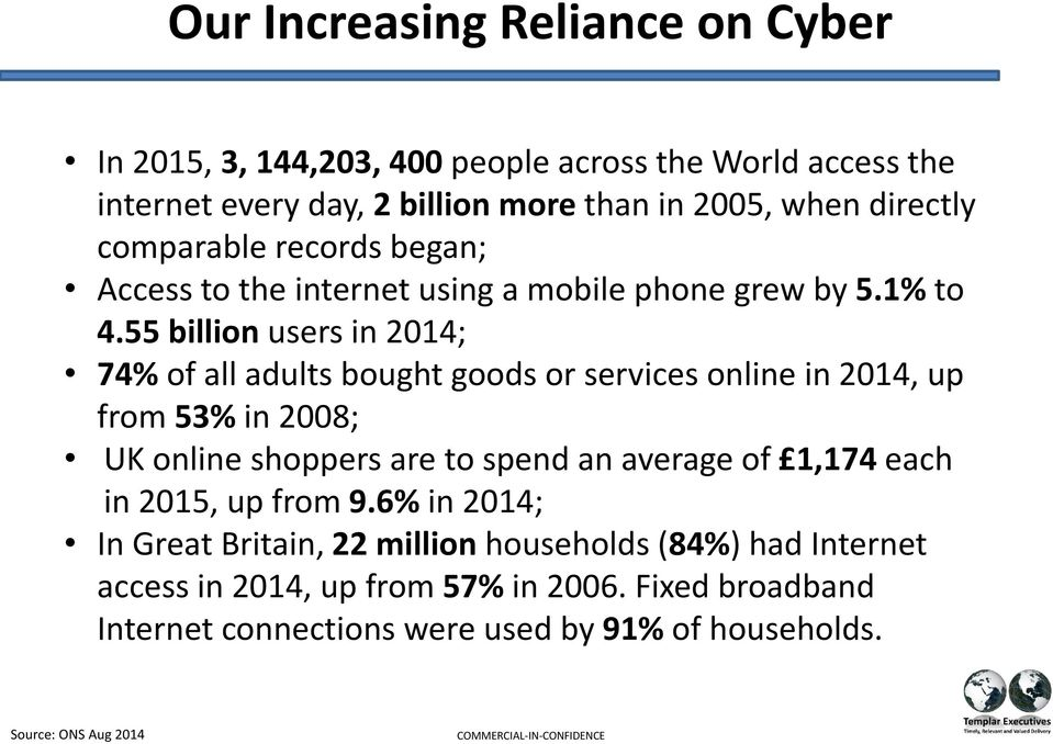 55 billion users in 2014; 74% of all adults bought goods or services online in 2014, up from 53% in 2008; UK online shoppers are to spend an average of