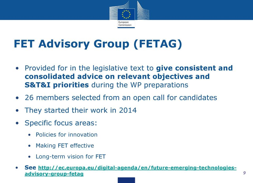 candidates They started their work in 2014 Specific focus areas: Policies for innovation Making FET effective