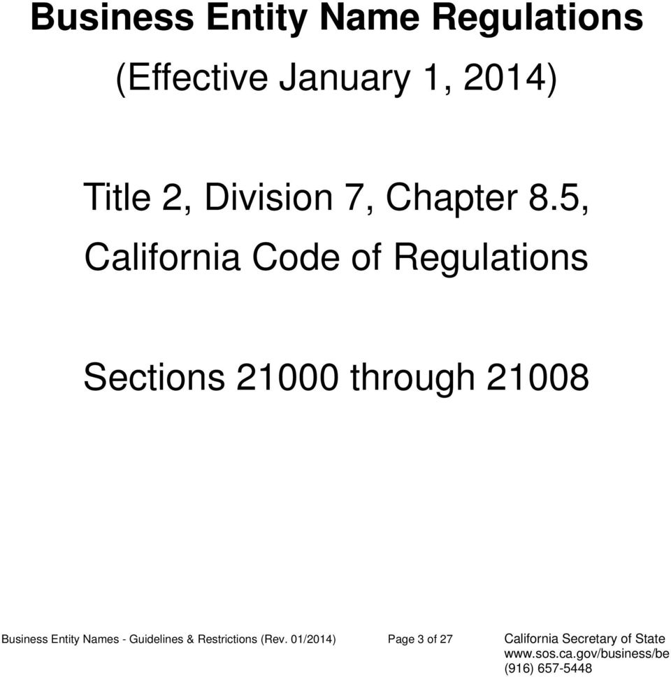 5, California Code of Regulations Sections 21000 through 21008