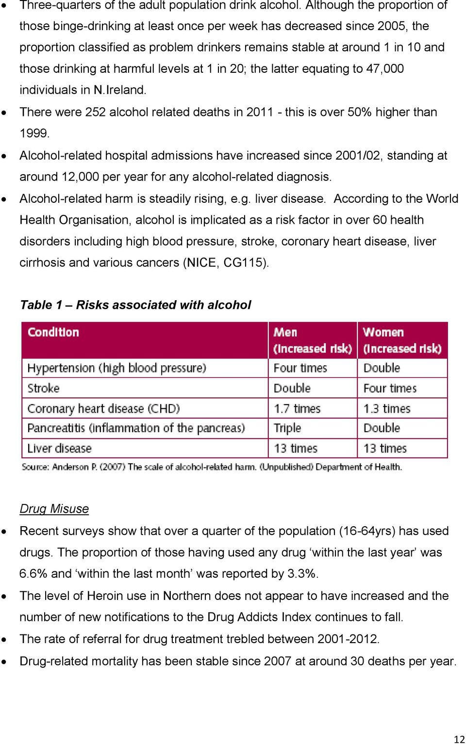 harmful levels at 1 in 20; the latter equating to 47,000 individuals in N.Ireland. There were 252 alcohol related deaths in 2011 - this is over 50% higher than 1999.