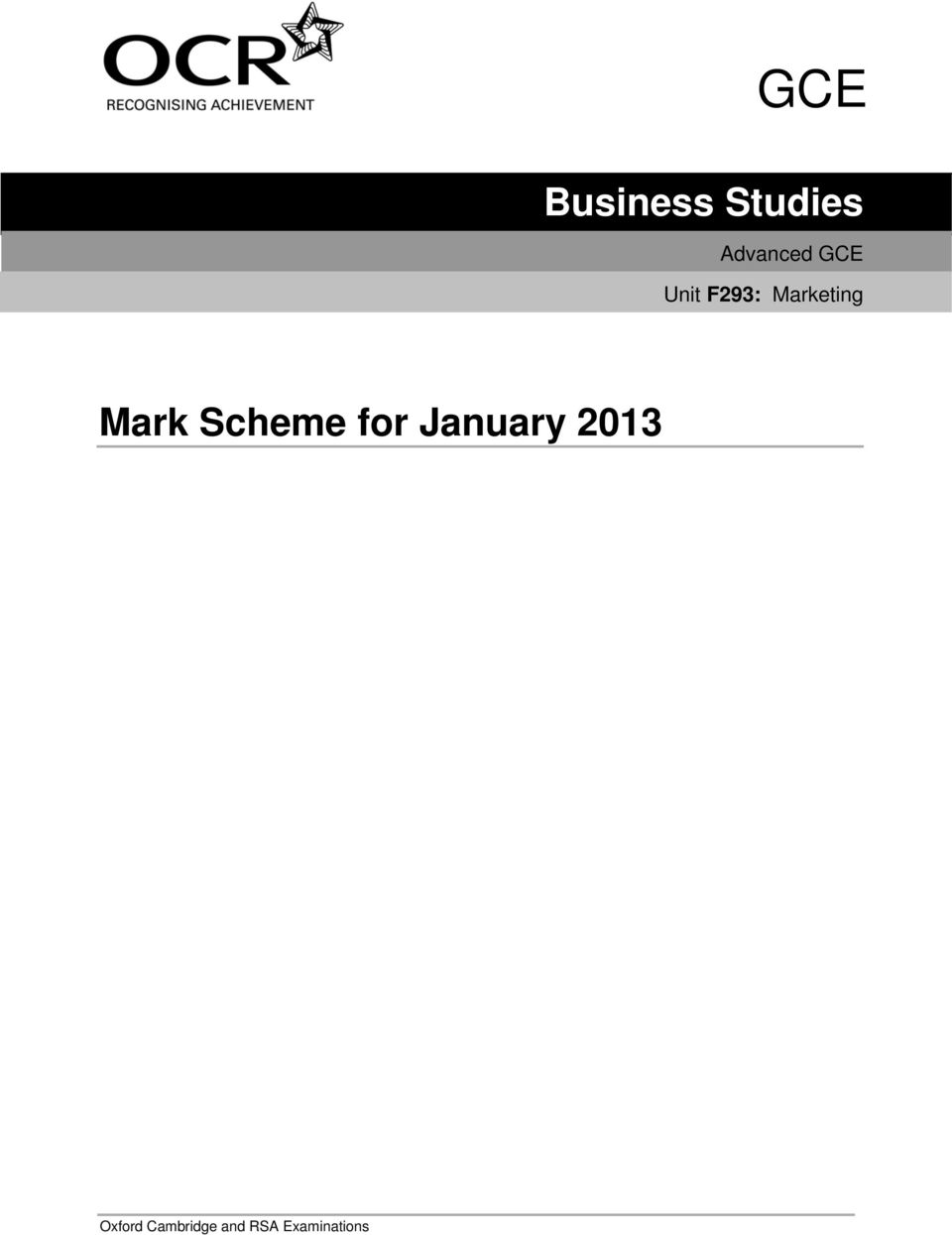 Scheme for January 2013 Oxford