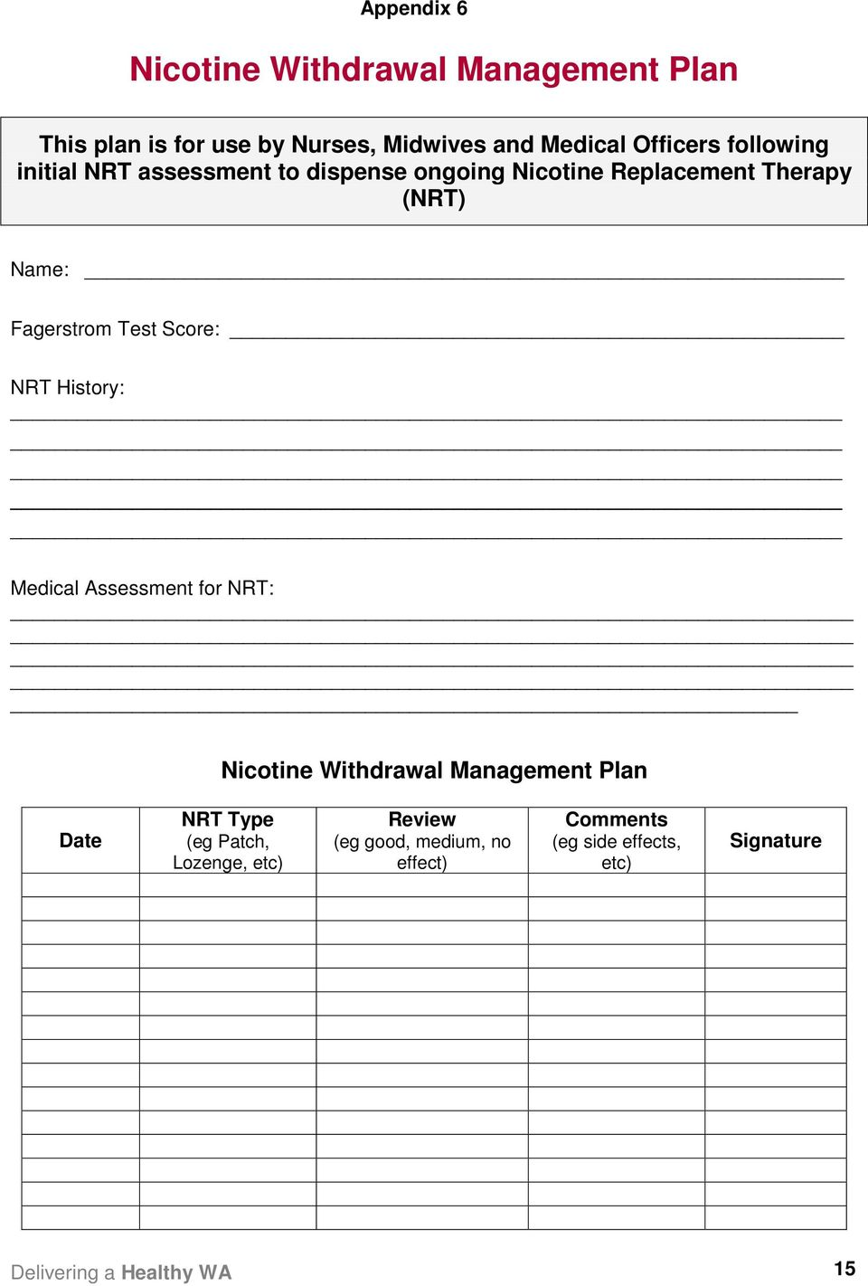 Score: NRT History: Medical Assessment for NRT: Nicotine Withdrawal Management Plan Date NRT Type (eg Patch,