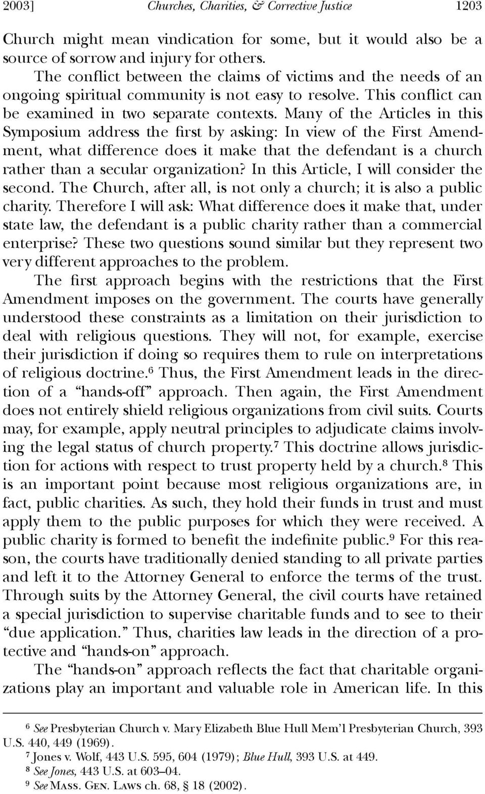 Many of the Articles in this Symposium address the ªrst by asking: In view of the First Amendment, what difference does it make that the defendant is a church rather than a secular organization?