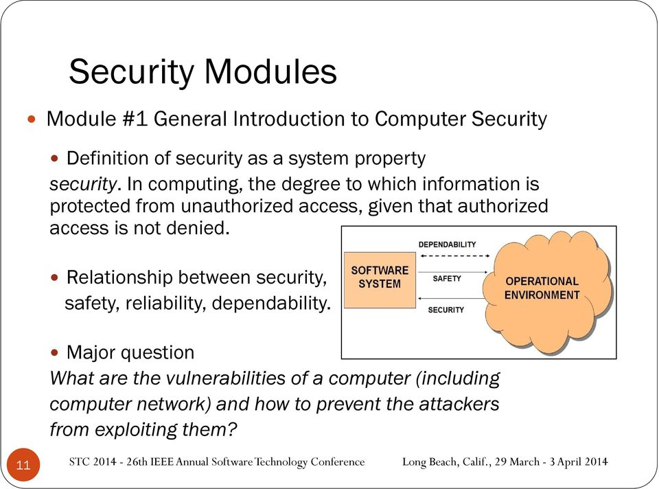 In computing, the degree to which information is protected from unauthorized access, given that authorized access