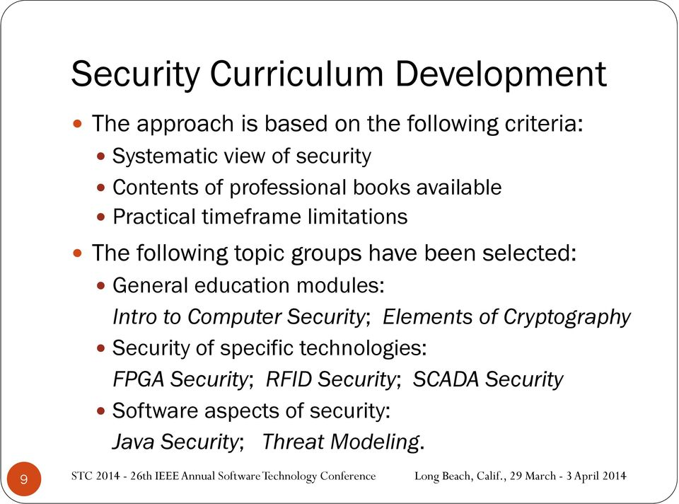 selected: General education modules: Intro to Computer Security; Elements of Cryptography Security of specific
