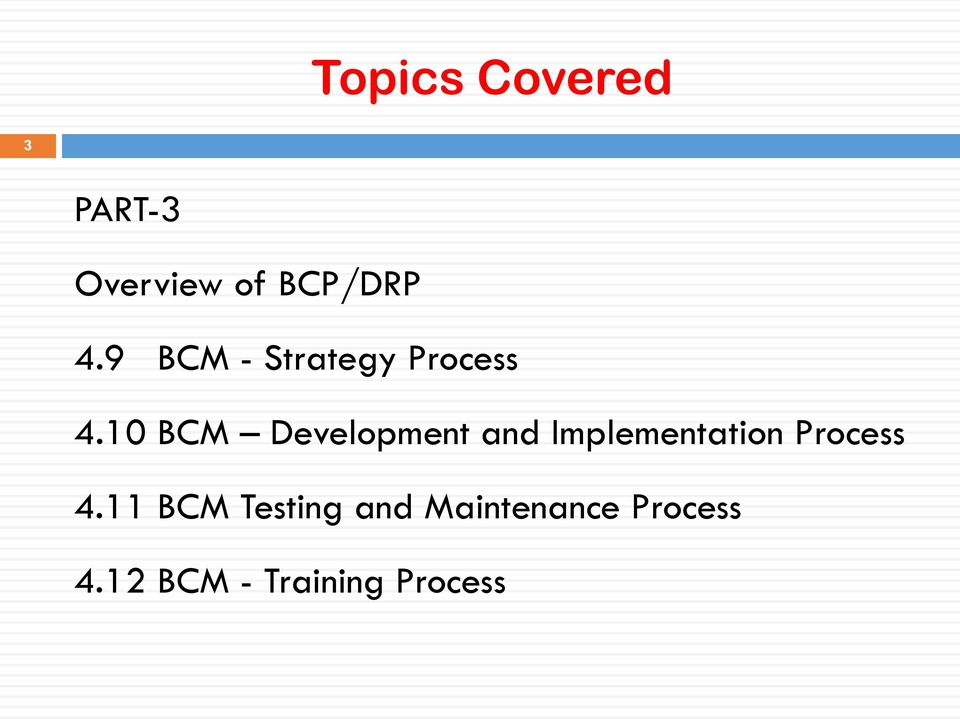 10 BCM Development and Implementation Process