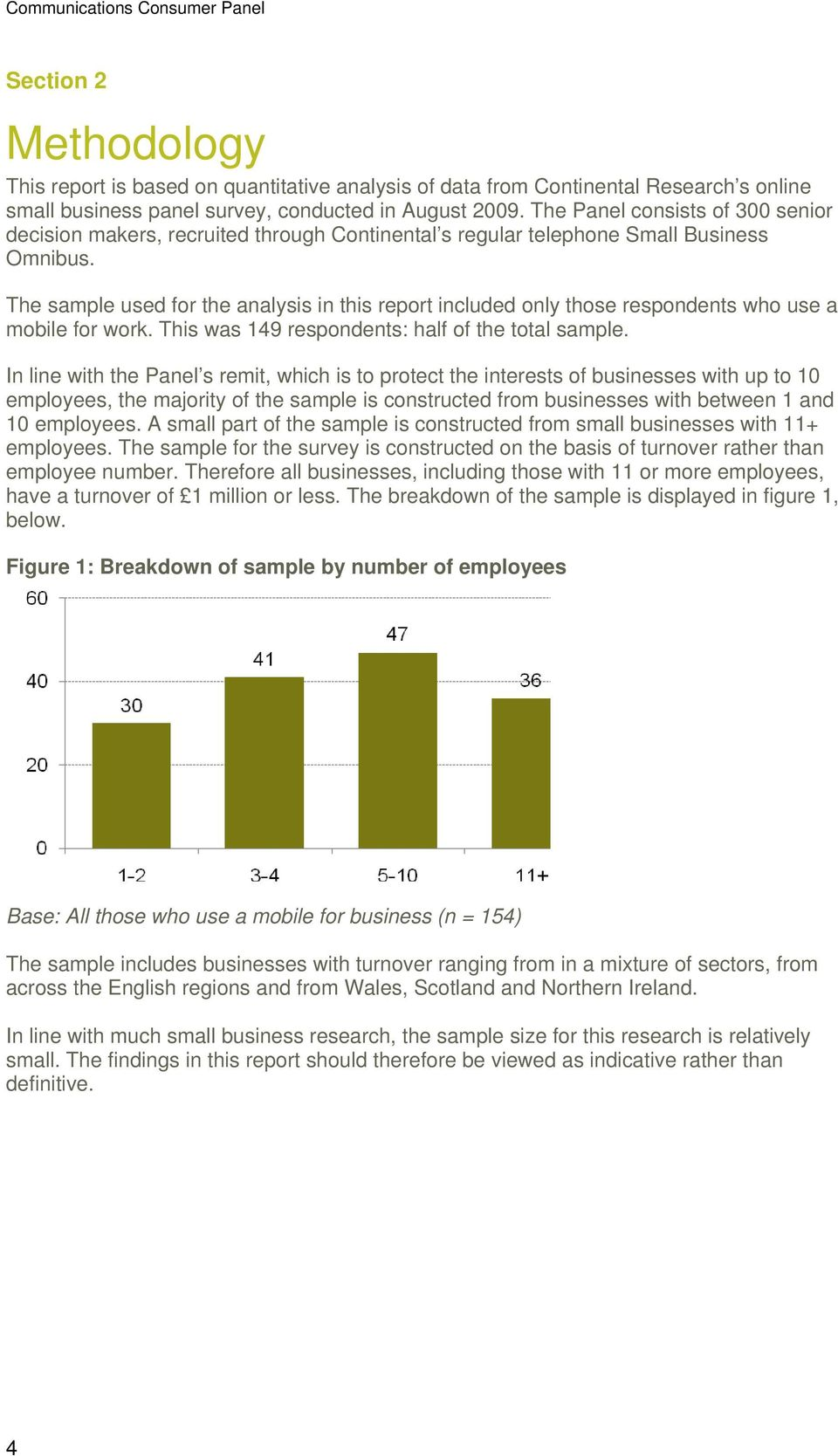 The sample used for the analysis in this report included only those respondents who use a mobile for work. This was 149 respondents: half of the total sample.