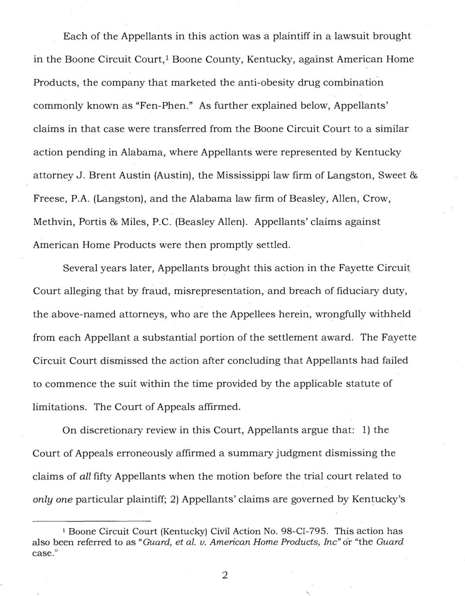 """ As further explained below, Appellants' claims in that case were transferred from the Boone Circuit Court to a similar action pending in Alabama, where Appellants were represented by Kentucky"