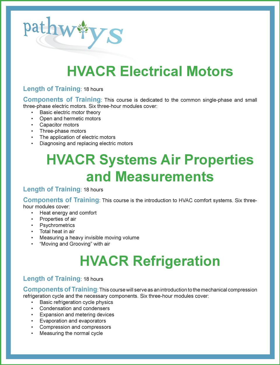 HVACR Systems Air Properties and Measurements Components of Training: This course is the introduction to HVAC comfort systems.