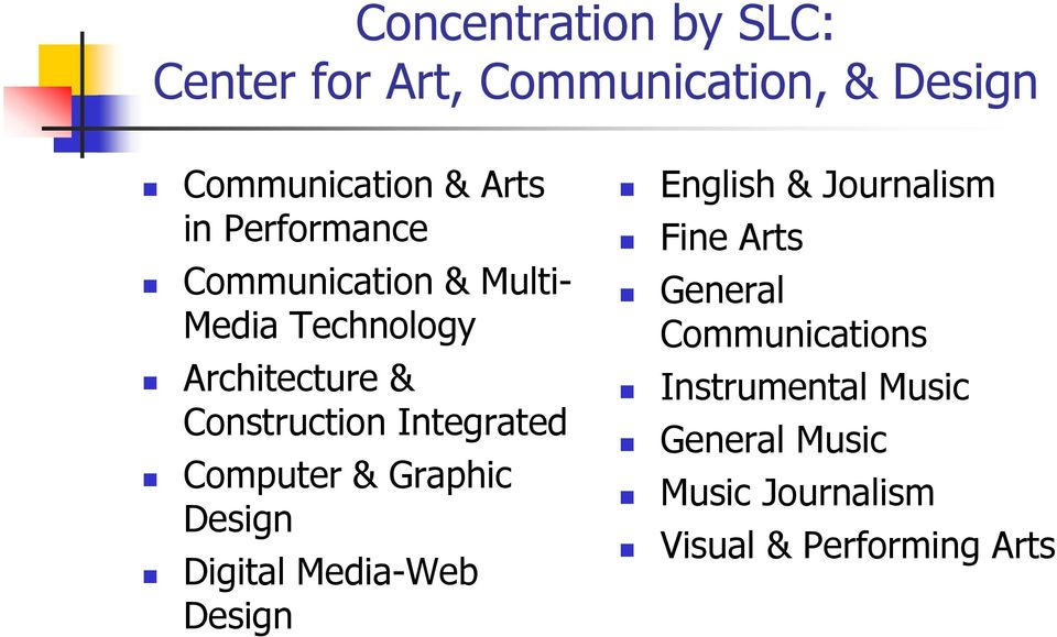 Integrated Computer & Graphic Design Digital Media-Web Design English & Journalism Fine