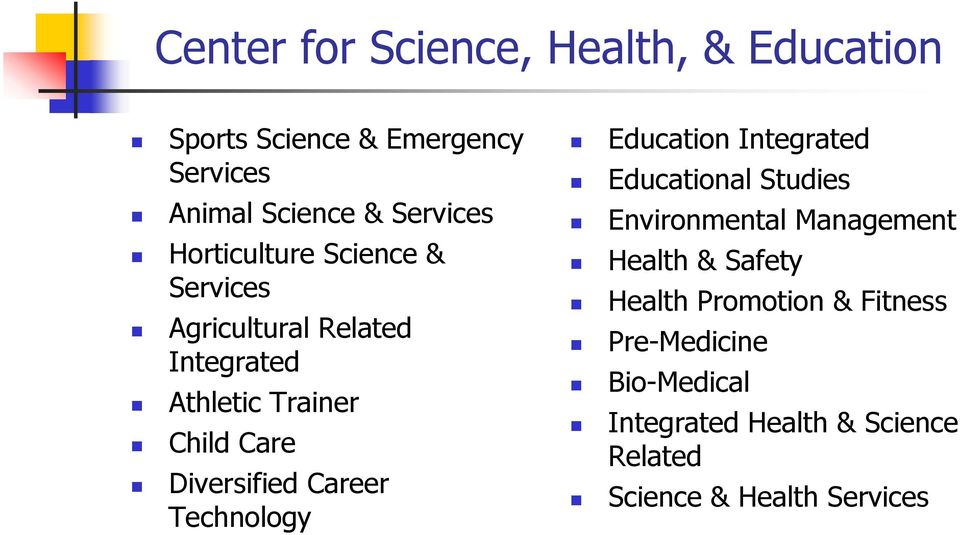 Career Technology Education Integrated Educational Studies Environmental Management Health & Safety