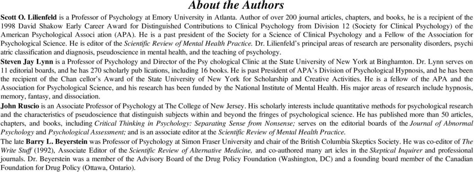 (Society for Clinical Psychology) of the American Psychological Associ ation (APA).
