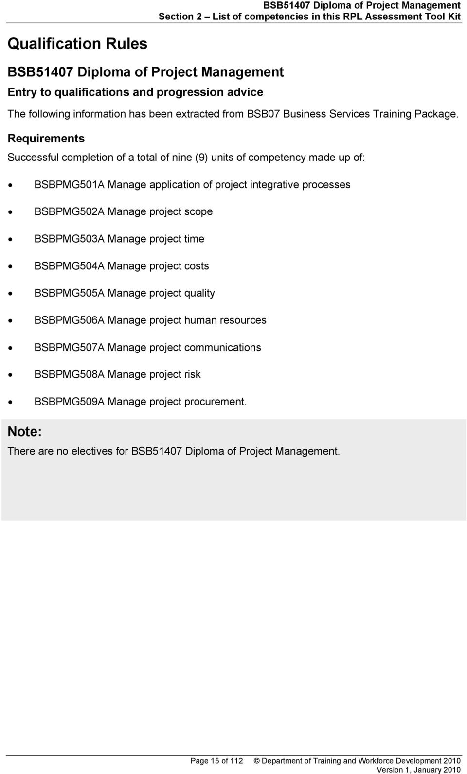 Requirements Successful completion of a total of nine (9) units of competency made up of: BSBPMG501A Manage application of project integrative processes BSBPMG502A Manage project scope BSBPMG503A