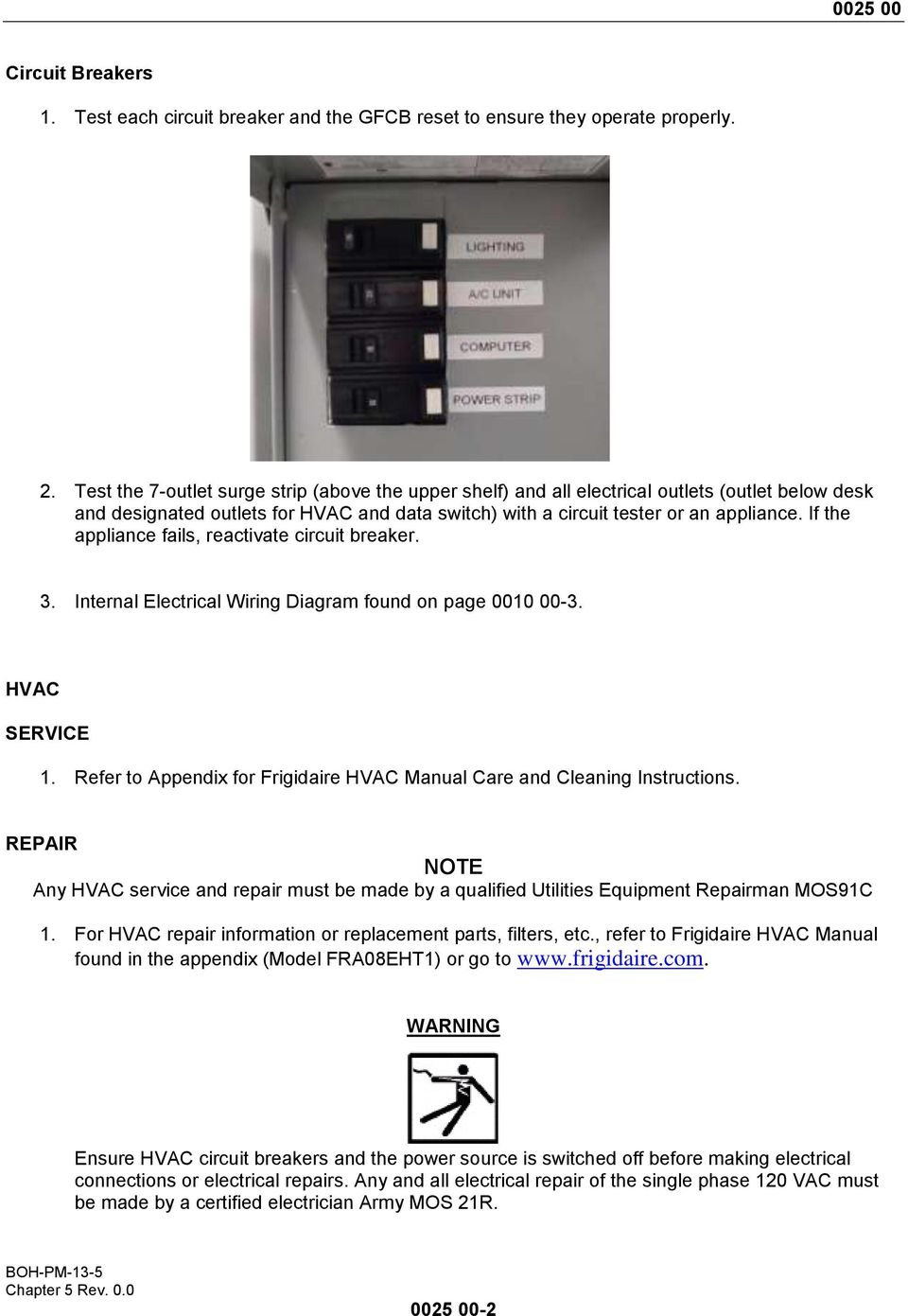 If the appliance fails, reactivate circuit breaker. 3. Internal Electrical Wiring Diagram found on page 000 00-3. HVAC SERVICE.
