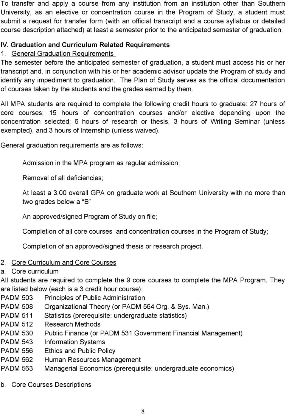 Graduation and Curriculum Related Requirements 1.