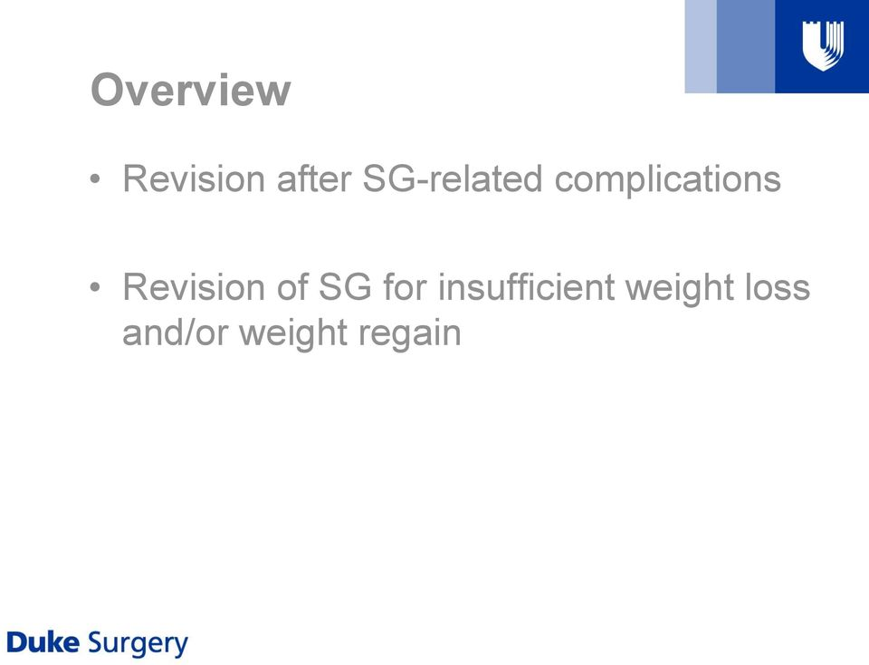 Revision of SG for