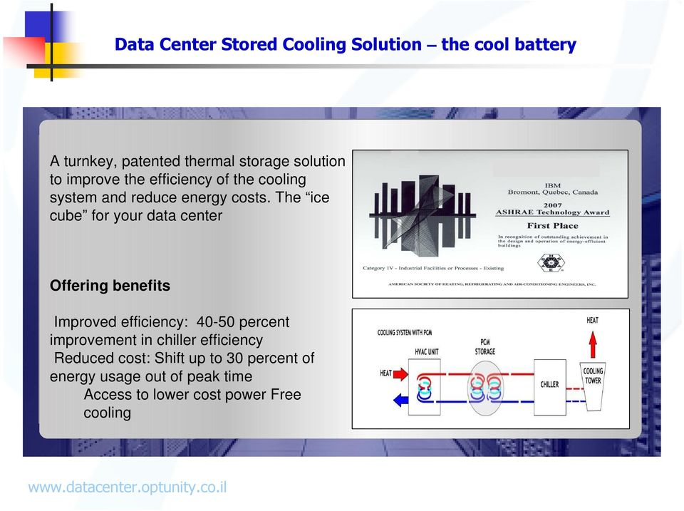 The ice cube for your data center Offering benefits Improved efficiency: 40-50 percent improvement