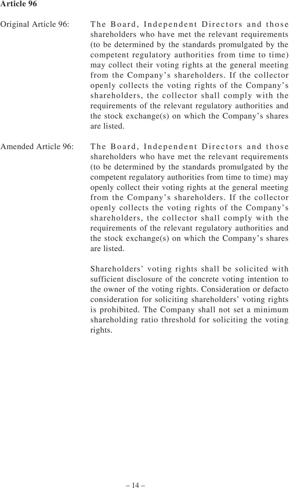 If the collector openly collects the voting rights of the Company s shareholders, the collector shall comply with the requirements of the relevant regulatory authorities and the stock exchange(s) on