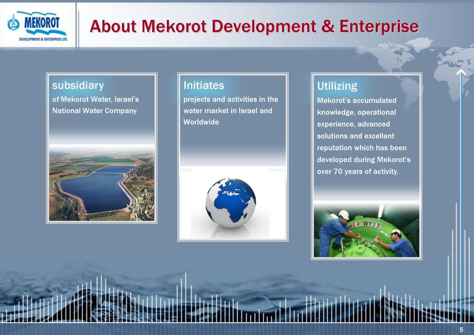 Worldwide Utilizing Mekorot s accumulated knowledge, operational experience, advanced
