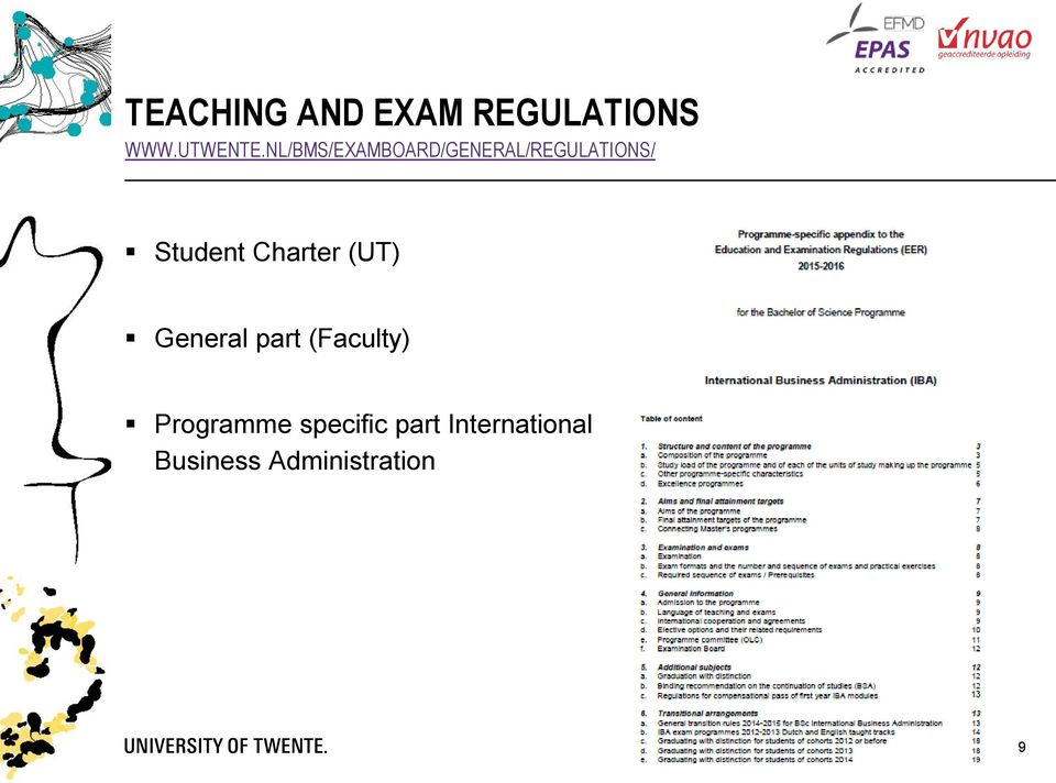 Charter (UT) General part (Faculty) Programme