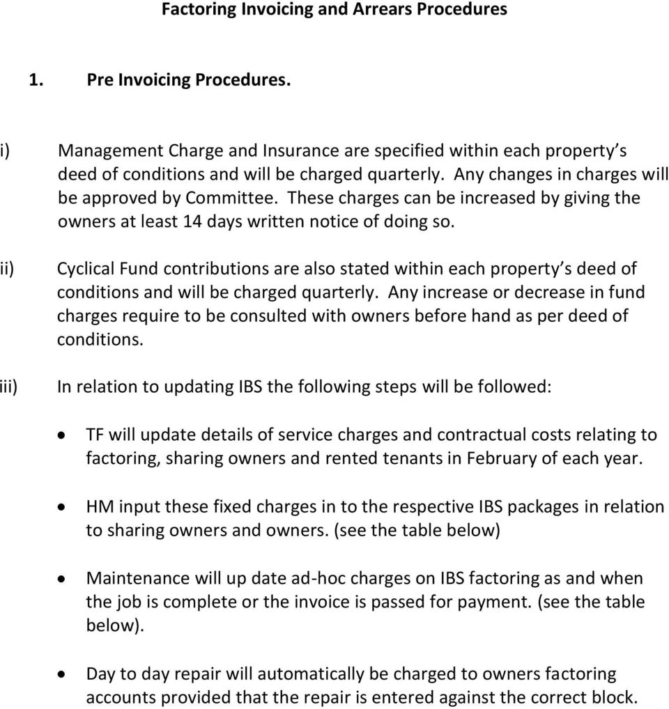 ii) iii) Cyclical Fund contributions are also stated within each property s deed of conditions and will be charged quarterly.