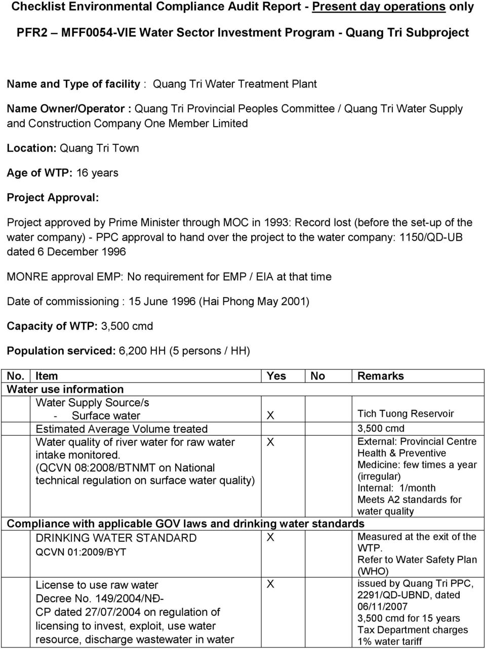 Approval: Project approved by Prime Minister through MOC in 1993: Record lost (before the set-up of the water company) - PPC approval to hand over the project to the water company: 1150/QD-UB dated 6