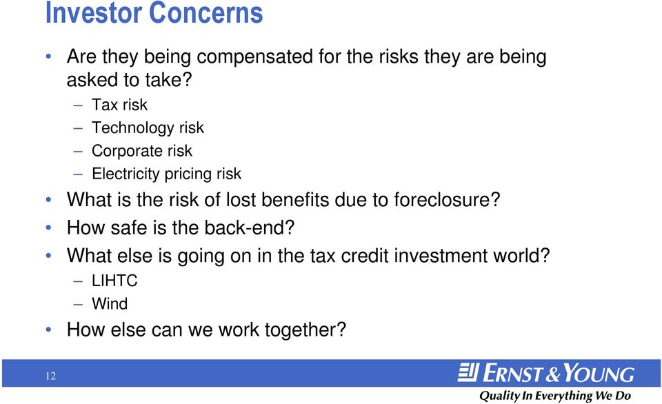 risk of lost benefits due to foreclosure? How safe is the back-end?