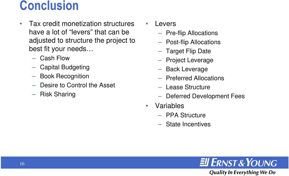 Risk Sharing Levers Pre-flip Allocations Post-flip Allocations Target Flip Date Project Leverage Back
