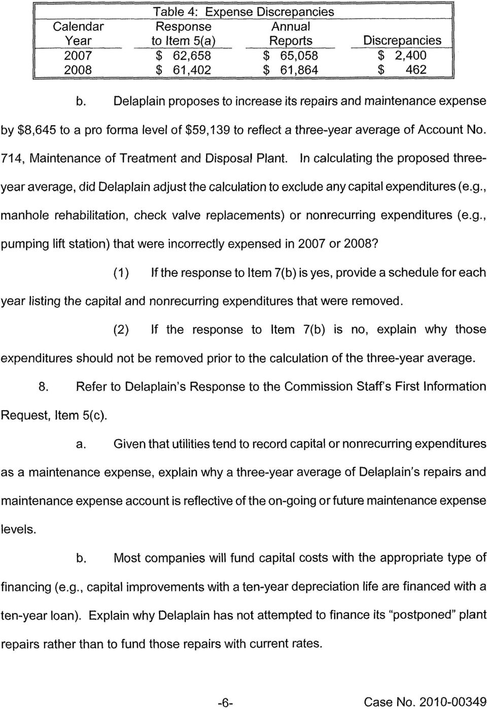 714, Maintenance of Treatment and Disposal Plant. In calculating the proposed threeyear average, did Delaplain adjust the calculation to exclude any capital expenditures (e.g., manhole rehabilitation, check valve replacements) or nonrecurring expenditures (e.