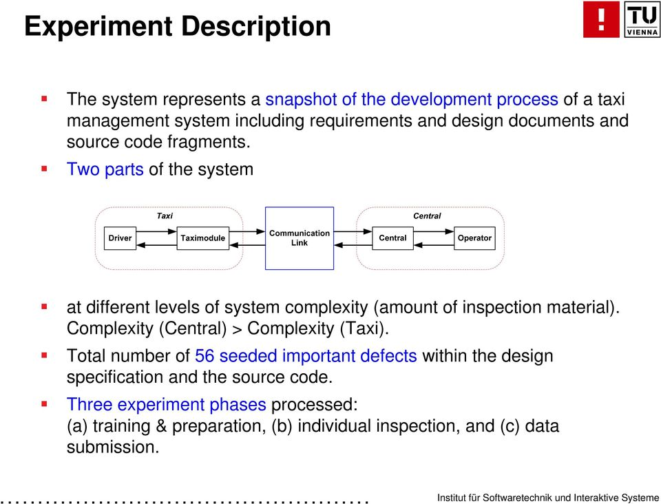 Two parts of the system at different levels of system complexity (amount of inspection material).