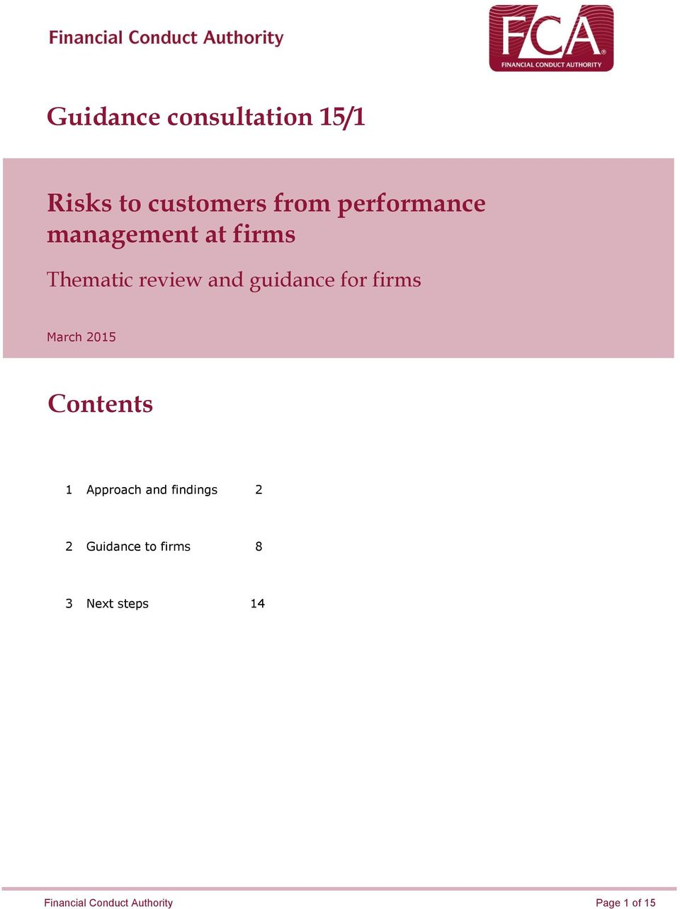 for firms March 2015 Contents 1 Approach and findings 2 2