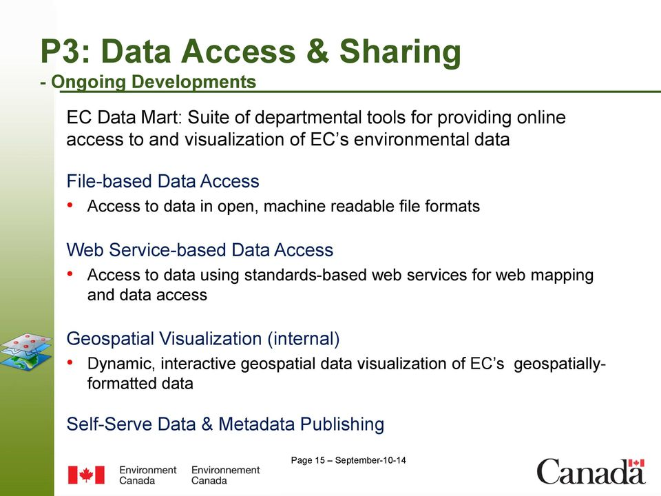Service-based Data Access Access to data using standards-based web services for web mapping and data access Geospatial Visualization