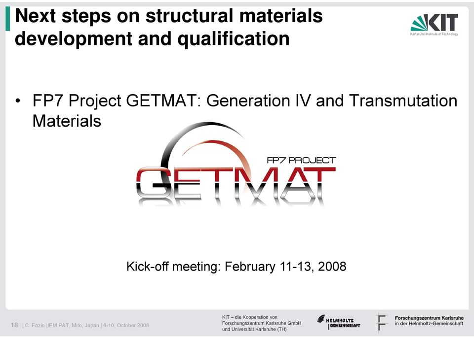 Transmutation Materials Kick-off meeting: February