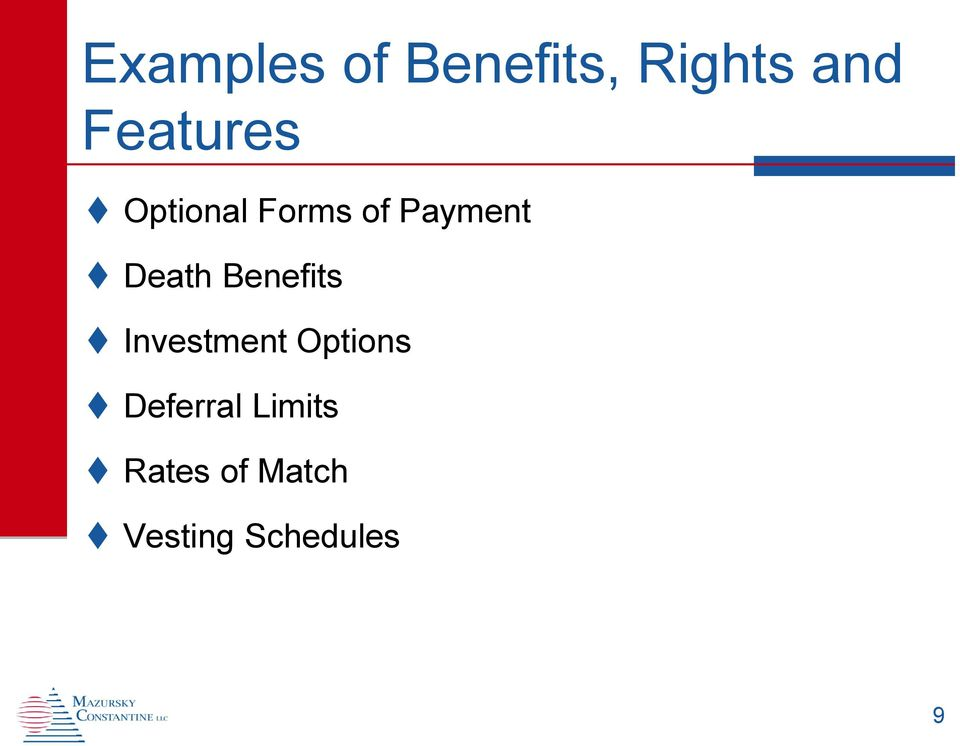 Death Benefits Investment Options