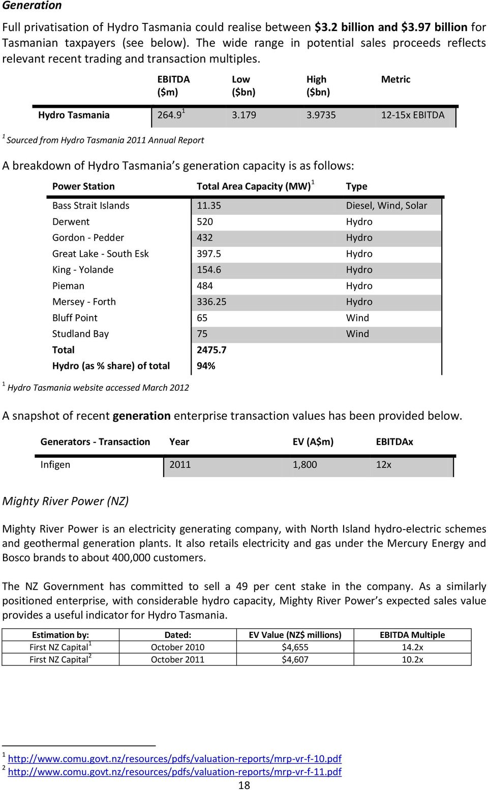 9735 12-15x EBITDA 1 Sourced from Hydro Tasmania 2011 Annual Report A breakdown of Hydro Tasmania s generation capacity is as follows: Power Station Total Area Capacity (MW) 1 Type Bass Strait